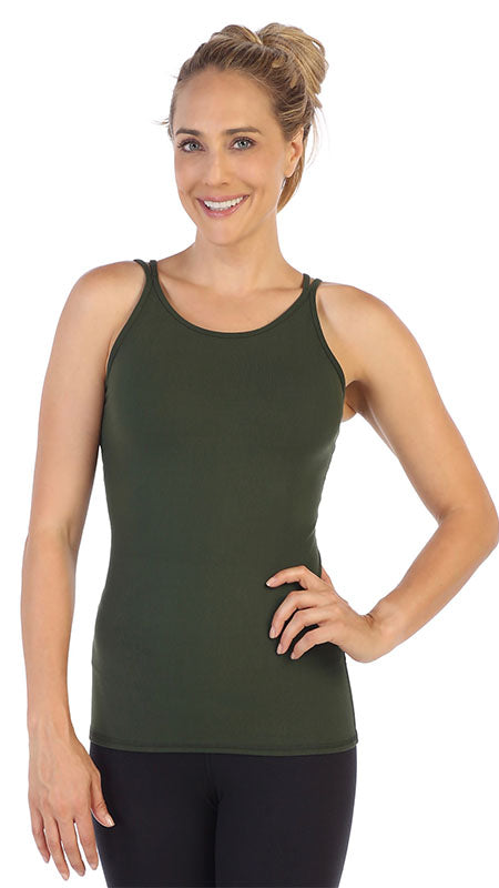 Olive-Strappy Back Workout Tank Top-front image