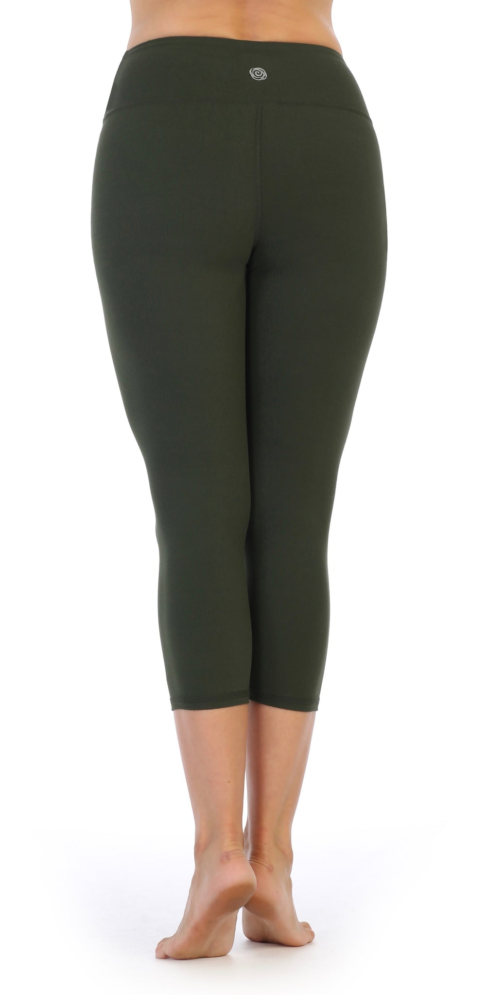 Olive-Compression 3-4 Length Leggings-high waist-back