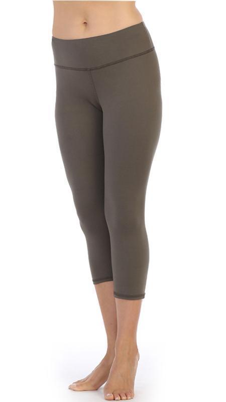 Taupe-High Waist-3-4-Length-Leggings
