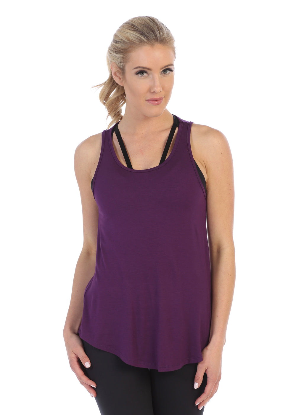 Plum-Get Shredded Workout Tank Top-front image flowy