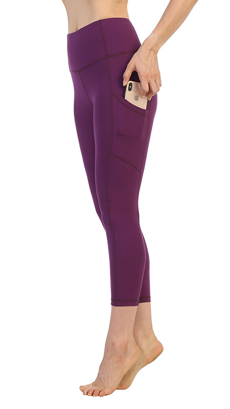 Plum-High Waist-Phone Pocket Leggings-Phone Pocket Detail