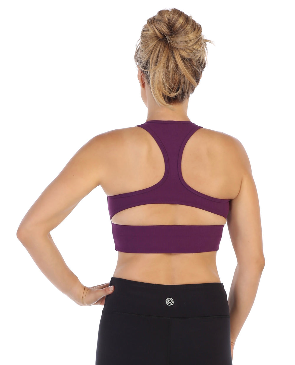 Plum-Racerback Crop Top Sports Bra-back