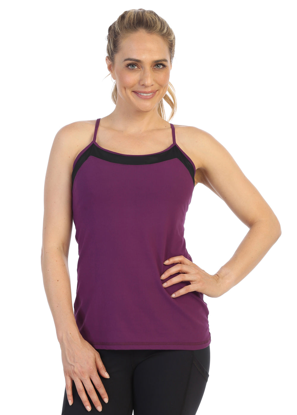 Plum--Racerback Y Built In Bra Workout Top-front image