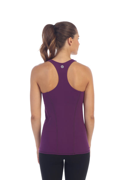 Womens Plum Racerback Workout Top Built In Sports Bra back image