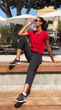 Red-Organic-Side Tie Tee-American-Fitness-Couture
