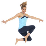 Baby Blue--Racerback Y Built In Bra Workout Top-jumping shot