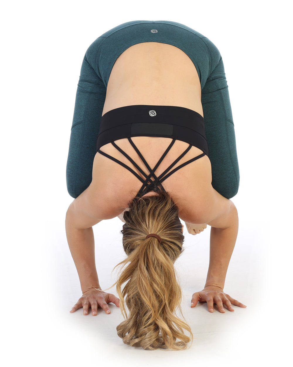 Crow Pose-Heather Spacedye Heather Teal High Waist Pocket Full Length Leggings