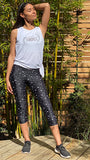 Stars + Moon Print-Hight Waist-3-4 Length Leggings-lifestyle image