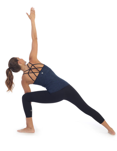 Heather Blue, Strappy Back Camisole Top Built In Sports Bra, Warrior Side Angle Pose