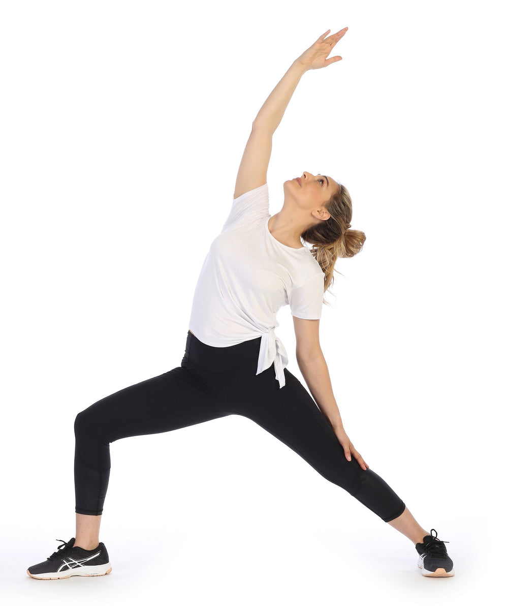 Reverse Warrior Pose-White-Organic Bamboo Side Tie Tee