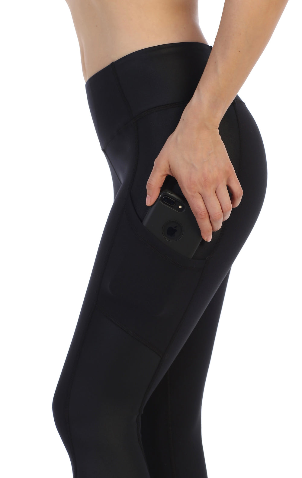 Black Ultra-Soft Color Block 7/8 Pocket Leggings-close up pocket image