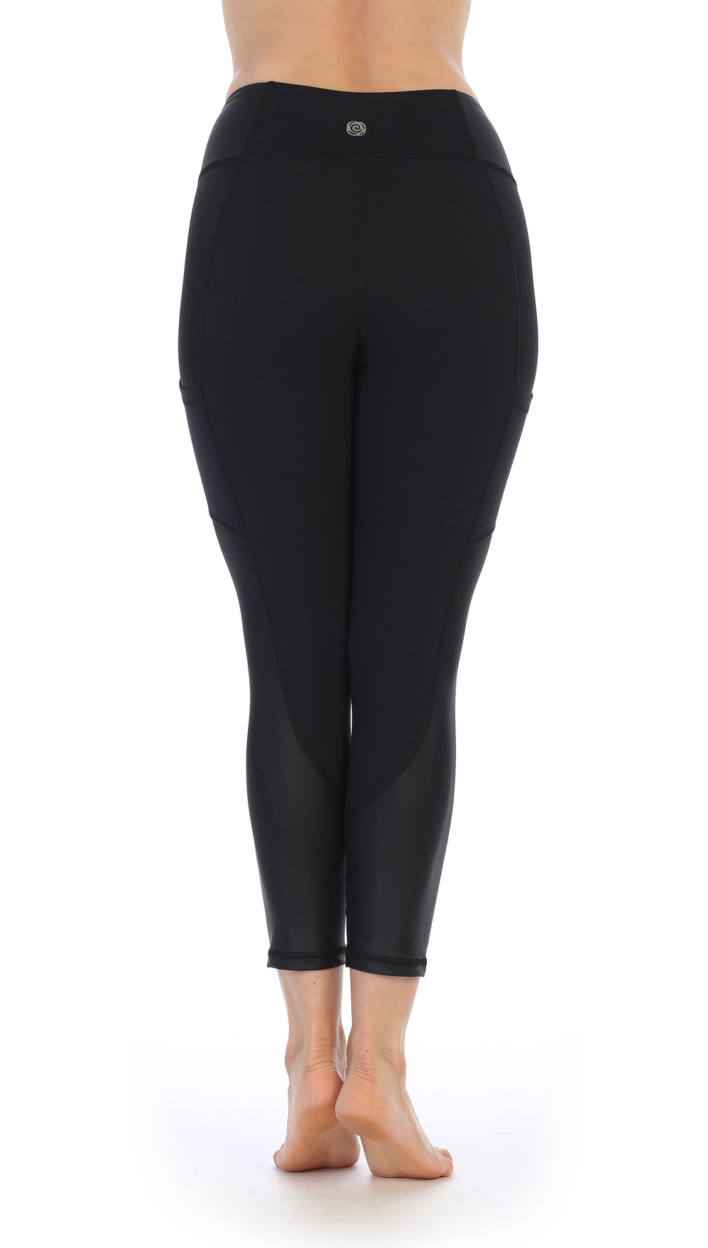 Black Ultra-Soft Color Block 7/8 Pocket Leggings-back image