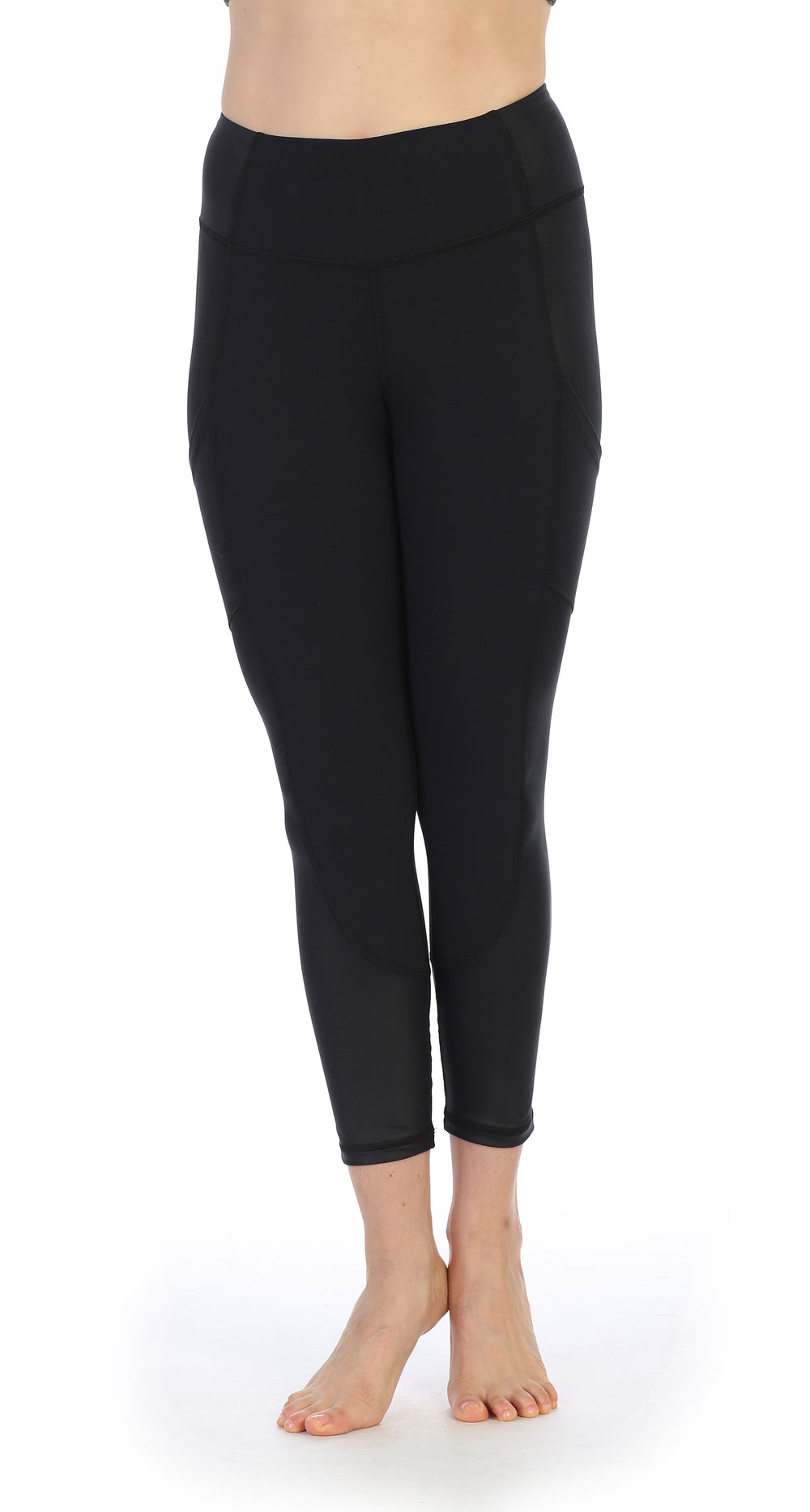 Black Ultra-Soft Color Block 7/8 Pocket Leggings-front image
