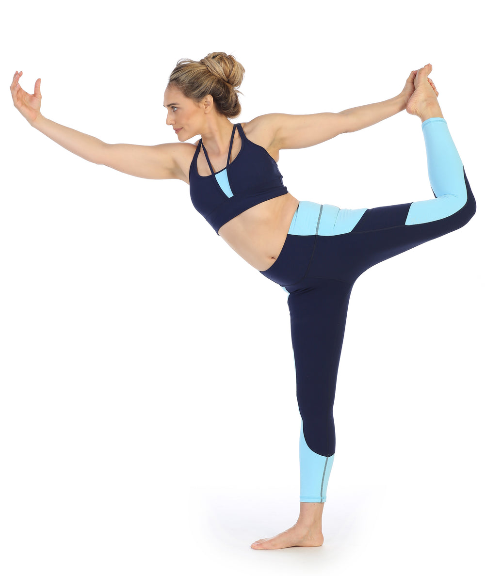 Navy - Light Blue Ultra-Soft Color Block 7/8 Pocket Leggings-yoga bow pose