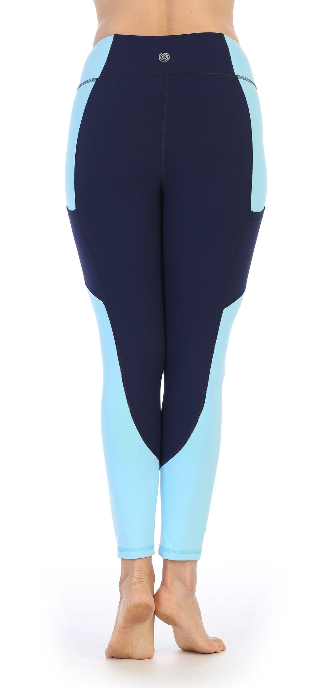 Navy - Light Blue Ultra-Soft Color Block 7/8 Pocket Leggings-back image