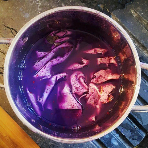 Rose petal puree natural dye cotton