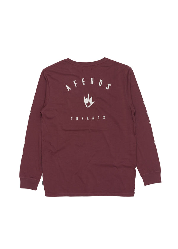 AFENDS THREADS LONG SLEEVE TEE - OXBLOOD