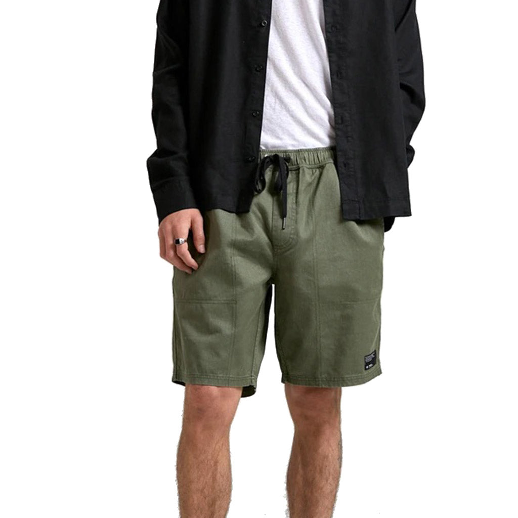 Afends Dendy Hemp Elastic Waist Walkshorts - Military