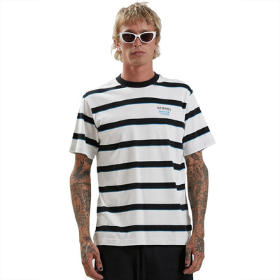 Afends Fight Stripe T-Shirt - Blanc