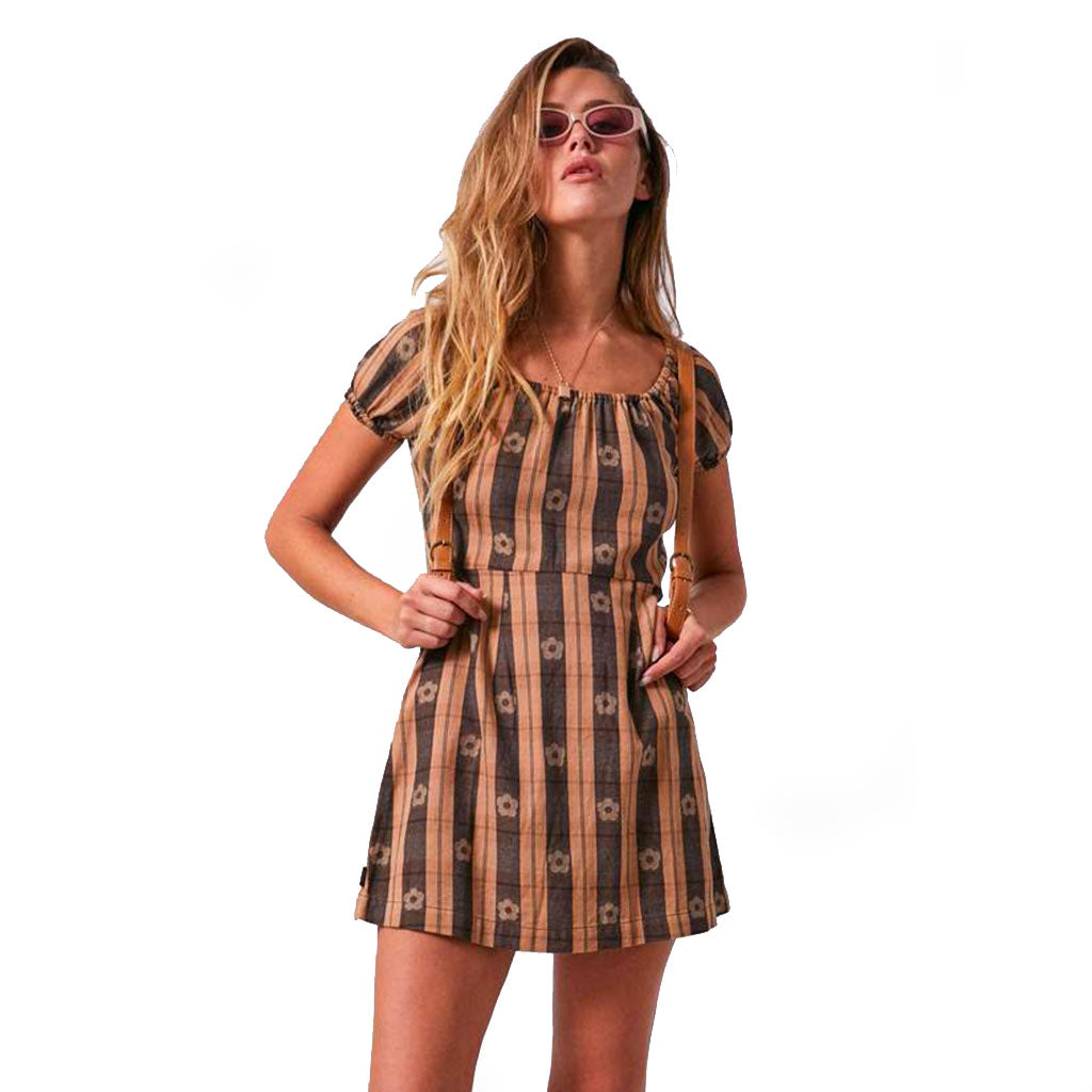 Afends Poppy Check - Dress - Black & Tan