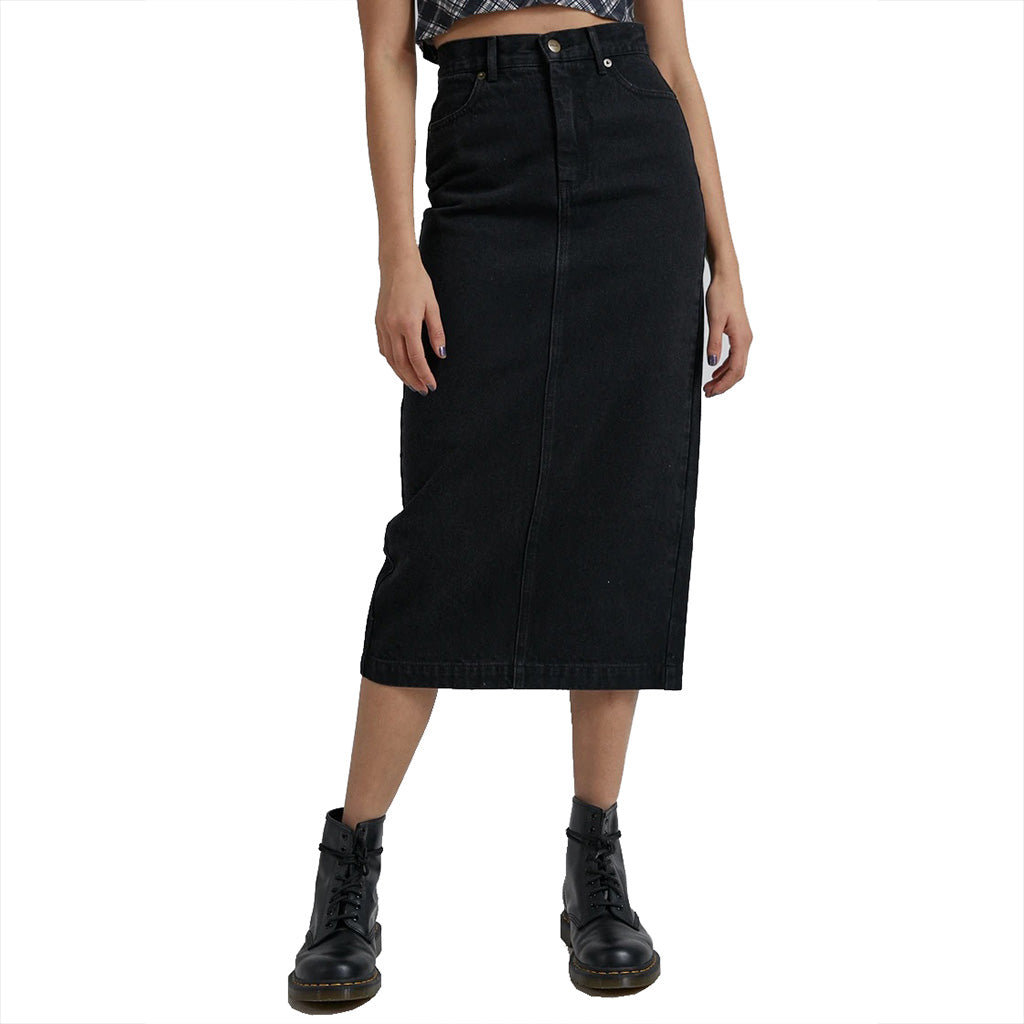 Afends Reed Organic Denim Midi Skirt - Washed Black