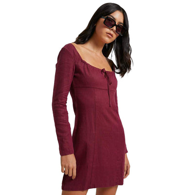 Afends Ren Hemp Long Sleeve Dress - Port