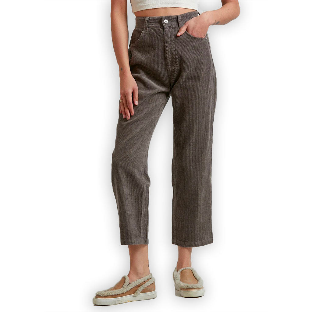 Afends Shelby Hemp Corduroy High Waist Wide Leg Pant - Beechwood