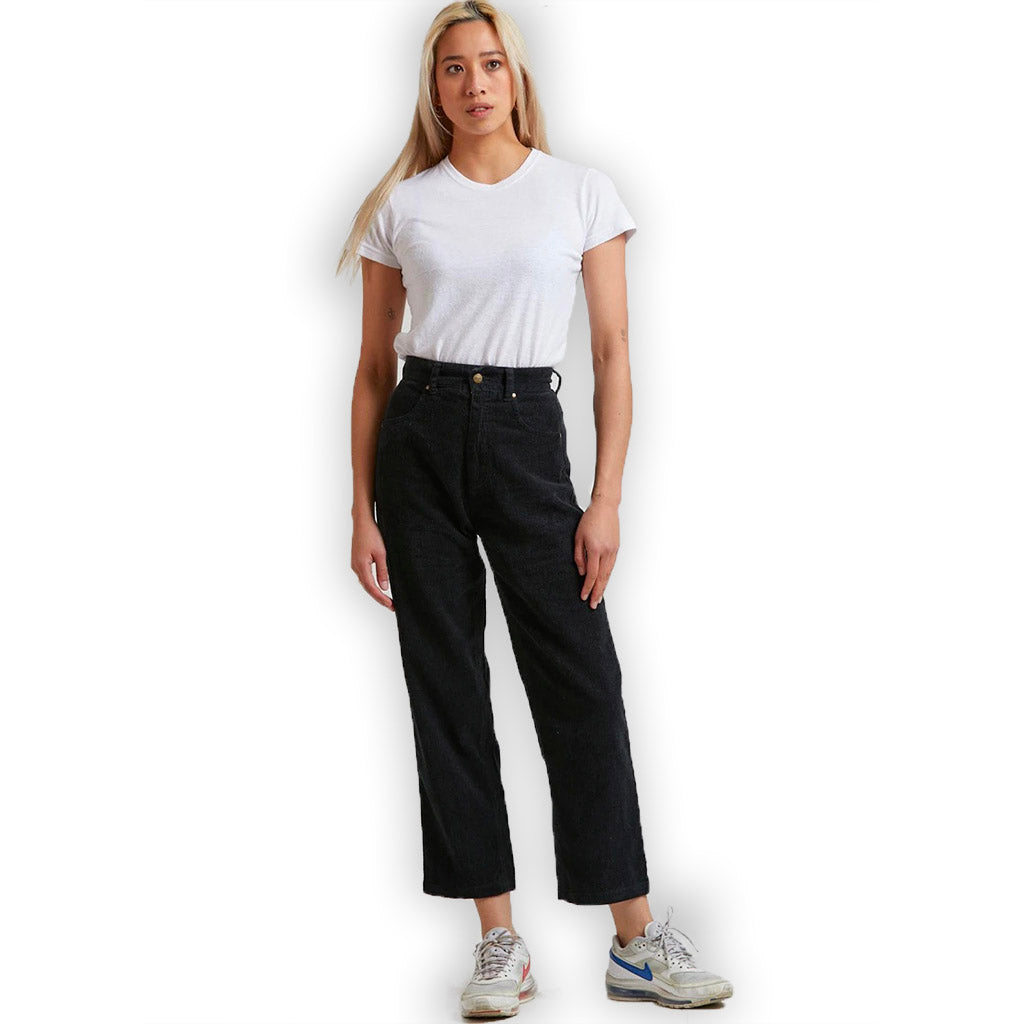 Afends Shelby Hemp Corduroy High Waist Wide Leg Pants - Black
