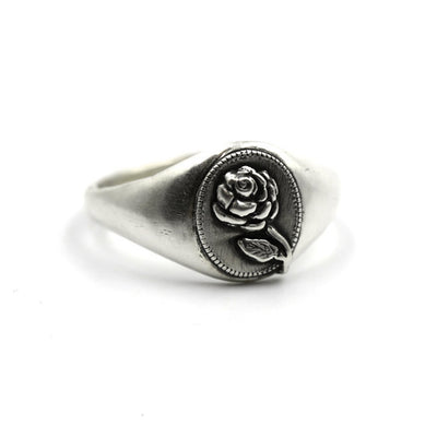 The Hunt Sterling Rose Signet - .925 Sterling Silver