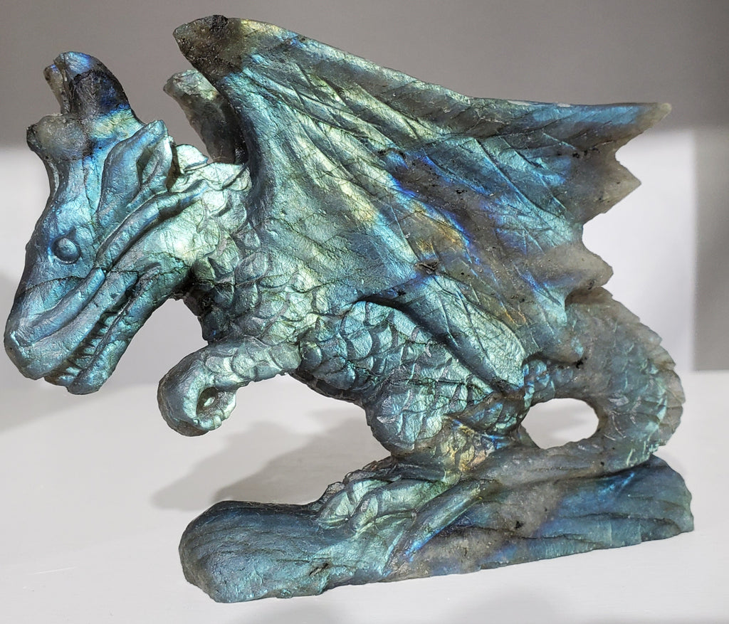 Labradorite Dragon Carving