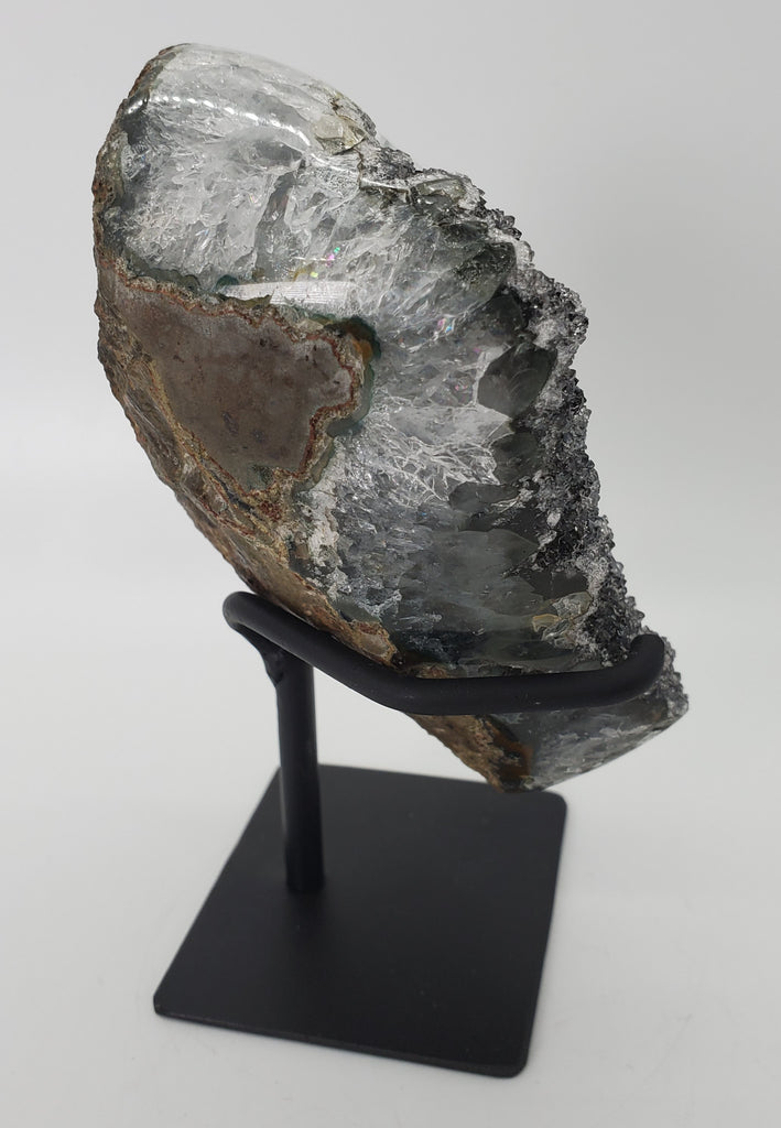 Druzy Black Quartz Formation on Custom Metal Stand (Uruguay)