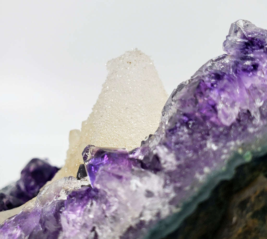 Amethyst and Druzy Calcite on Custom Stand, Uruguay