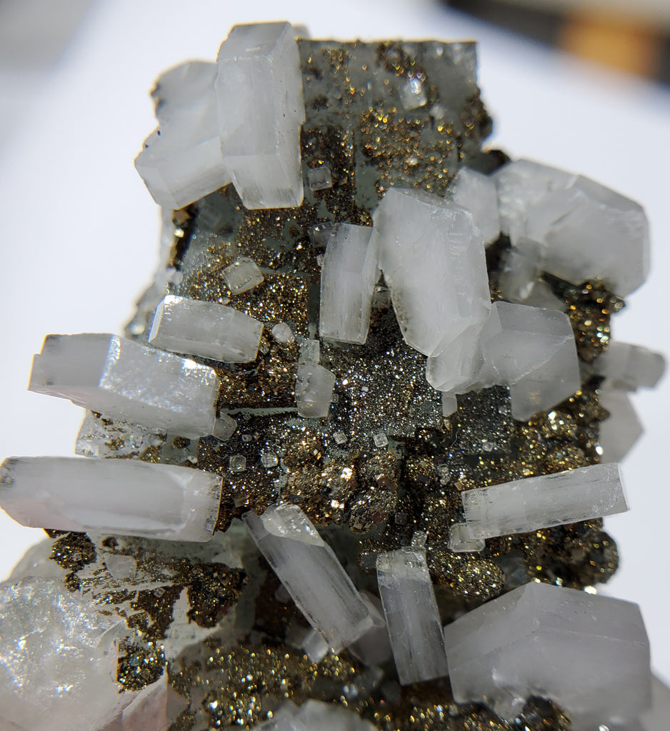 Calcite and Pyrite on Fluorite