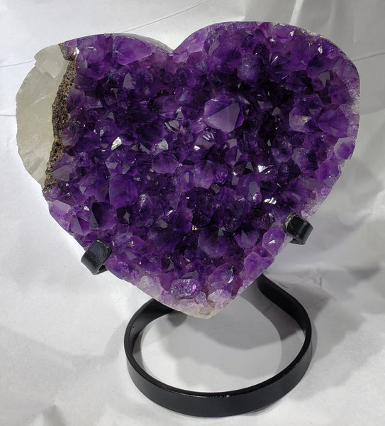 Amethyst and Calcite Heart on Custom Metal Stand, Uruguay