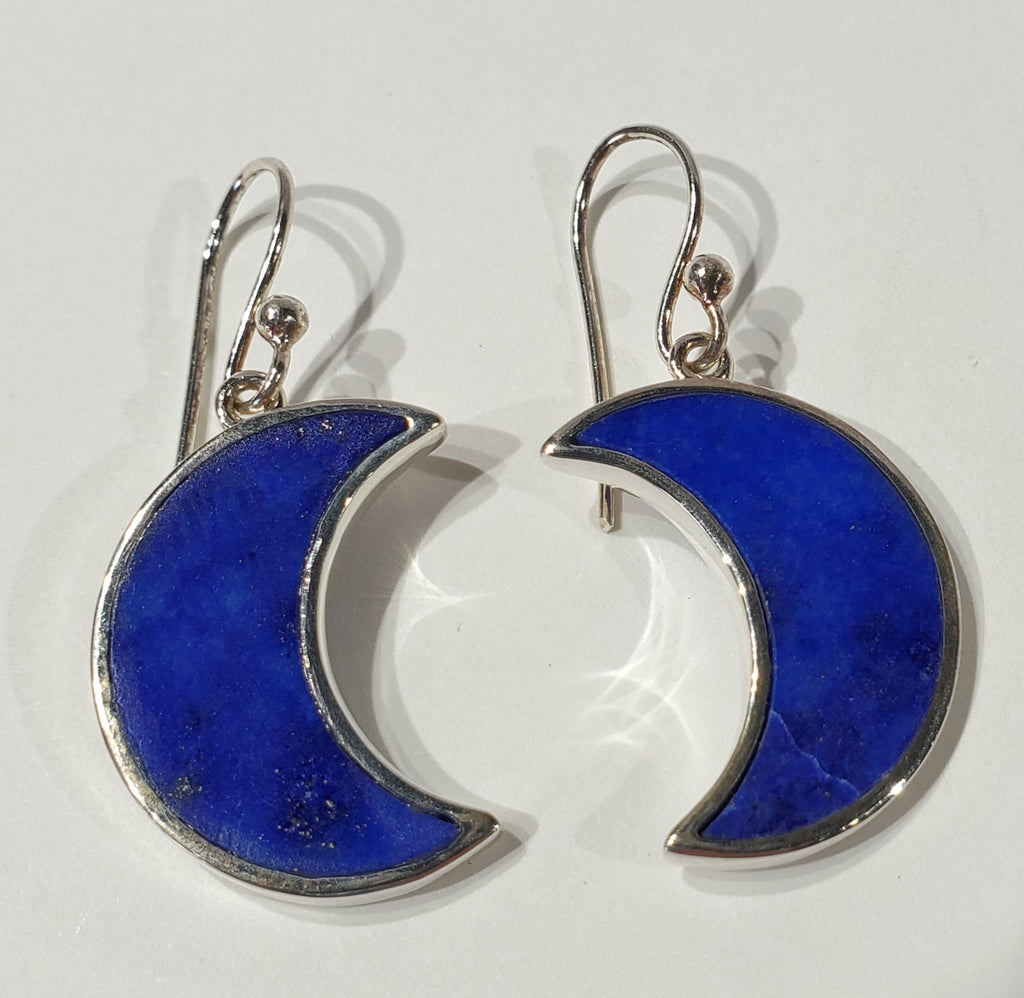 Lapis Lazuli Moon Earrings
