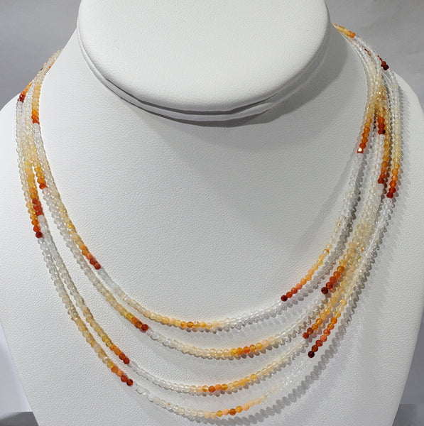 Faceted Fire Opal Bead Necklace