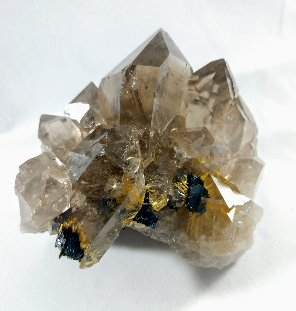 Smoky Quartz Cluster with Rutile and Hematite