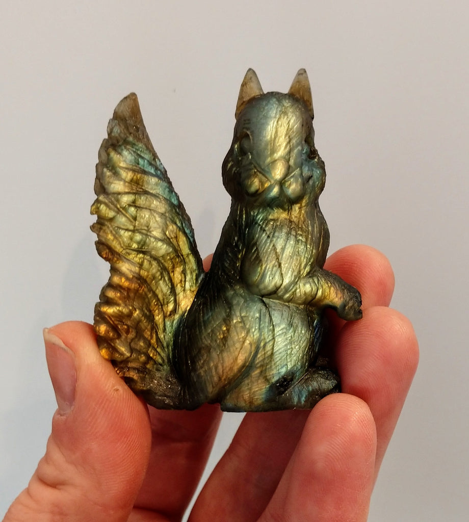 Labradorite Squirrel Carving