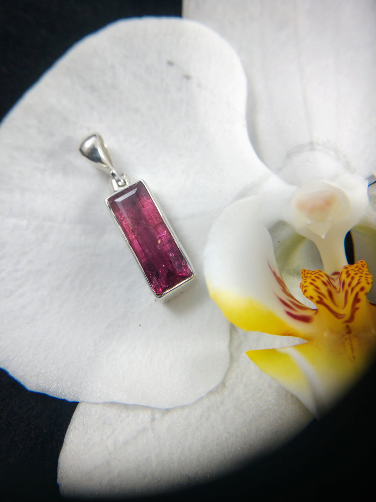 Faceted Rubellite Tourmaline Pendant in Sterling Silver