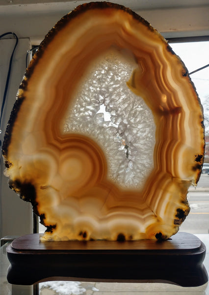 Agate Slice on Custom Wood Stand, Brasil