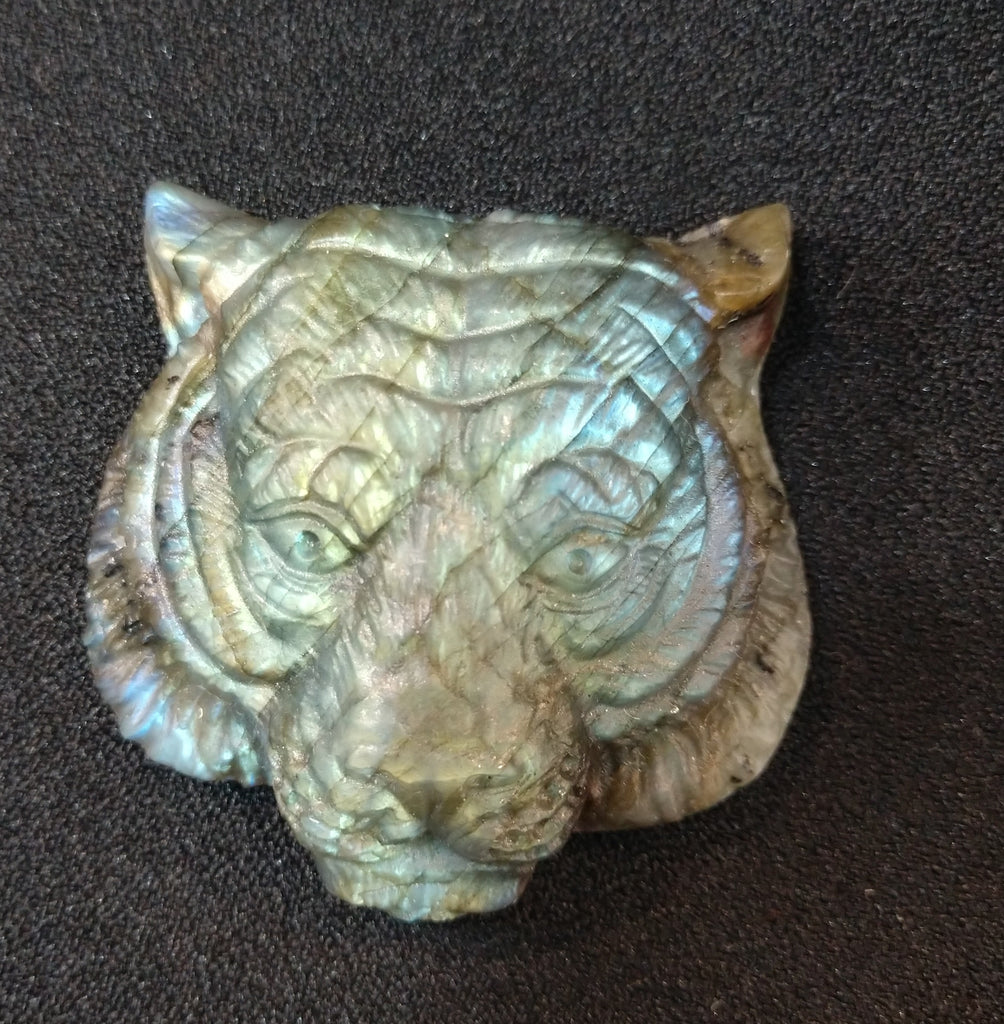 Labradorite Tiger Carving