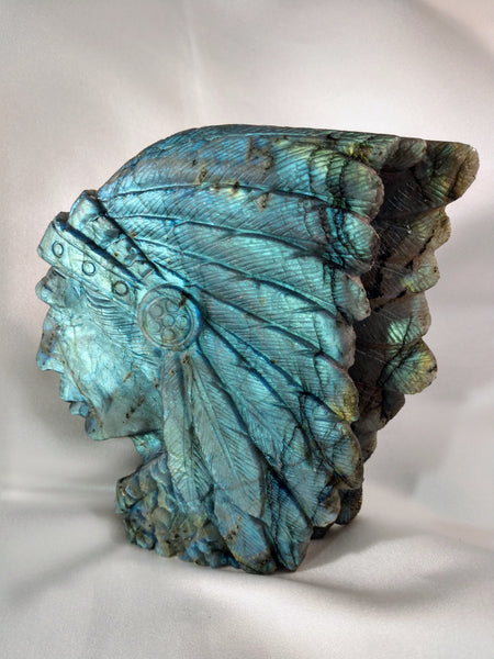Labradorite Carving of Native American Figure