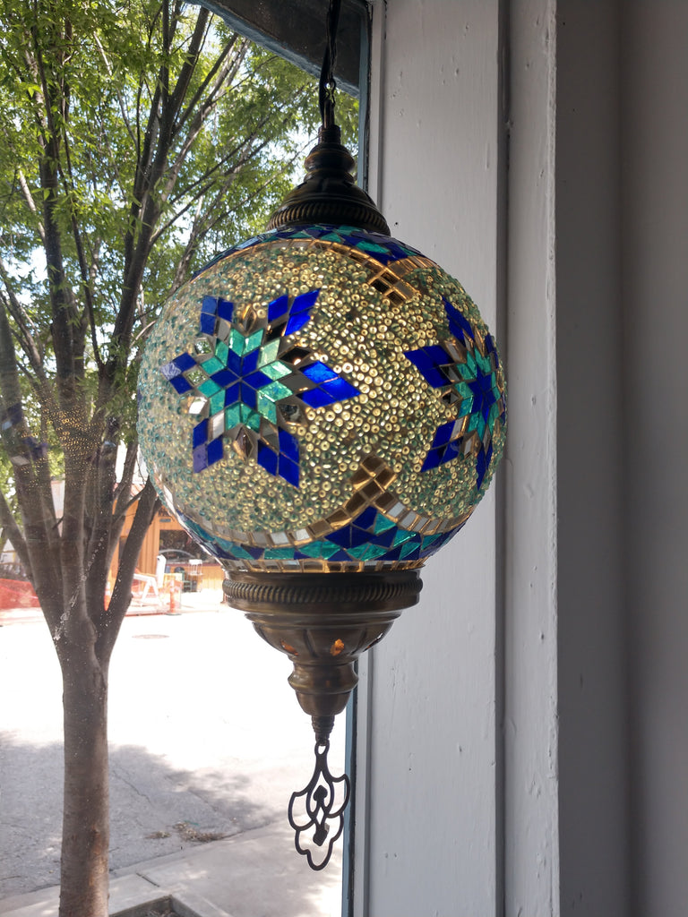 Hanging Glass Mosaic Lamp