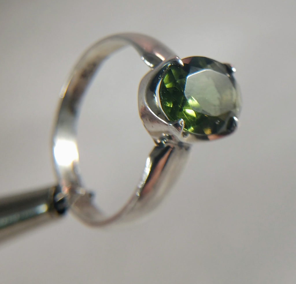 Faceted Moldavite Ring