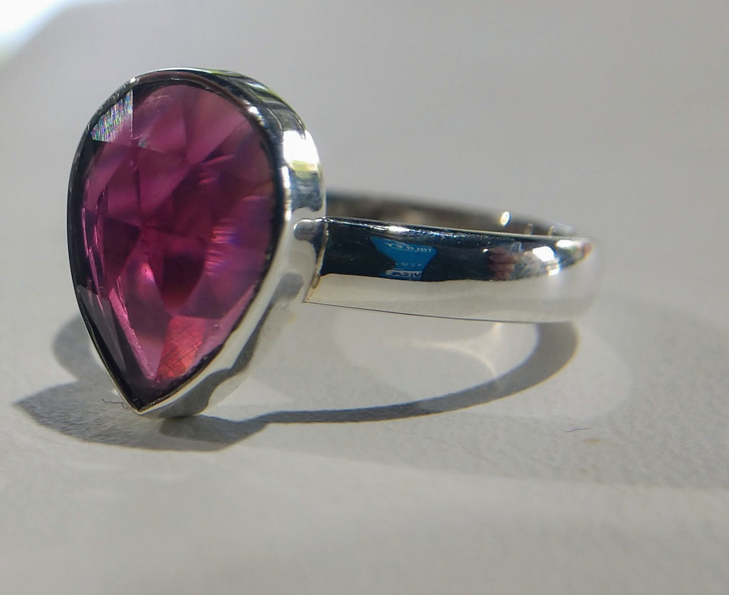 Faceted Pink Garnet Ring