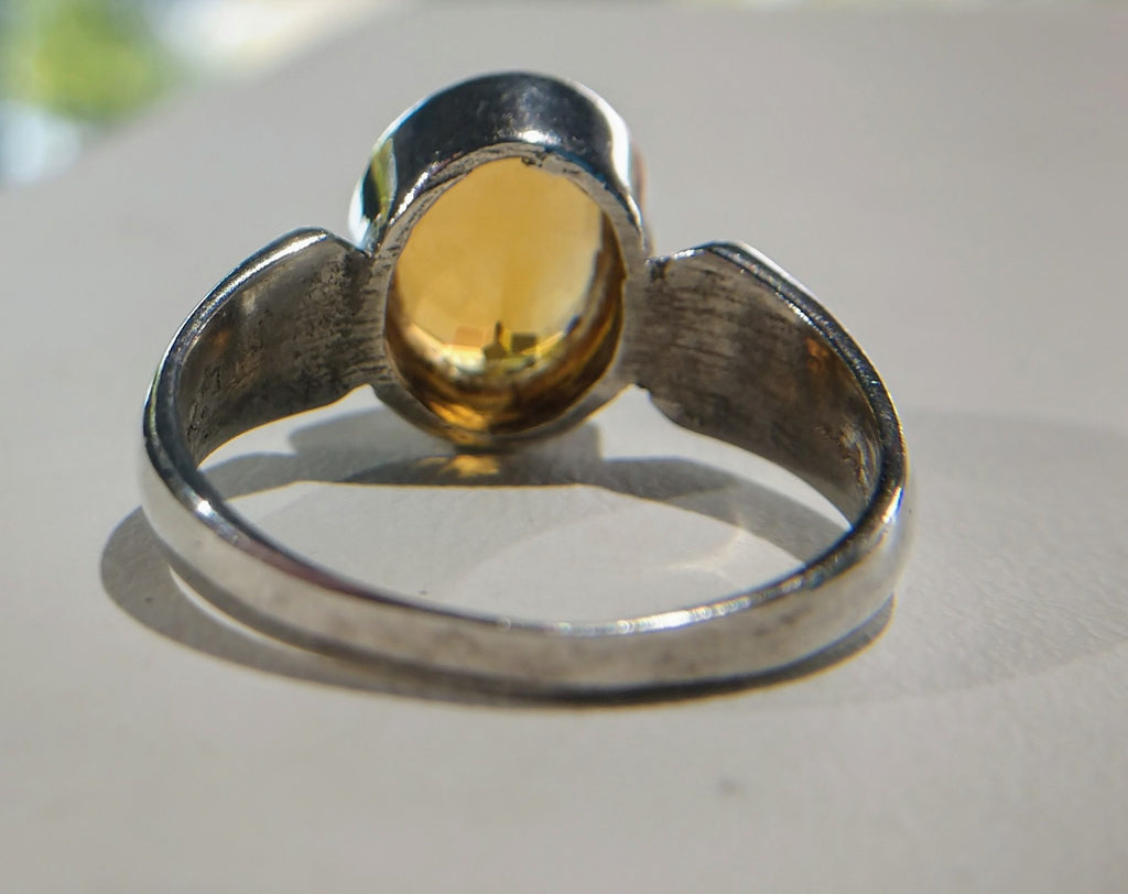 Faceted Natural Citrine Ring