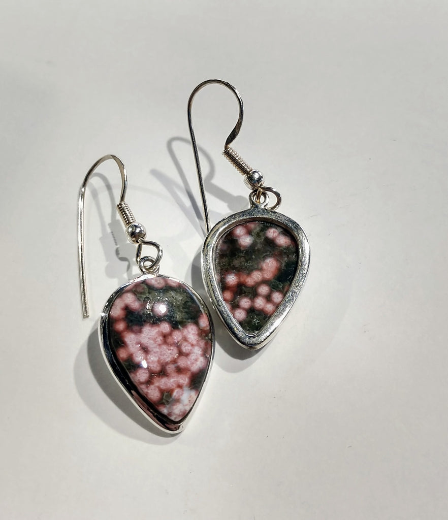 Ocean Jasper Earrings, Sterling Silver
