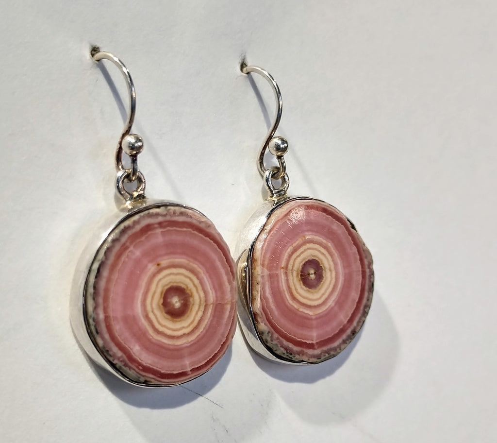Rhodochrosite Stalactite Slice Earrings, Sterling Silver