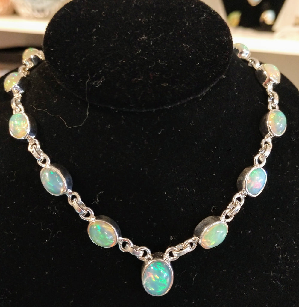 Opal necklace in sterling silver setting