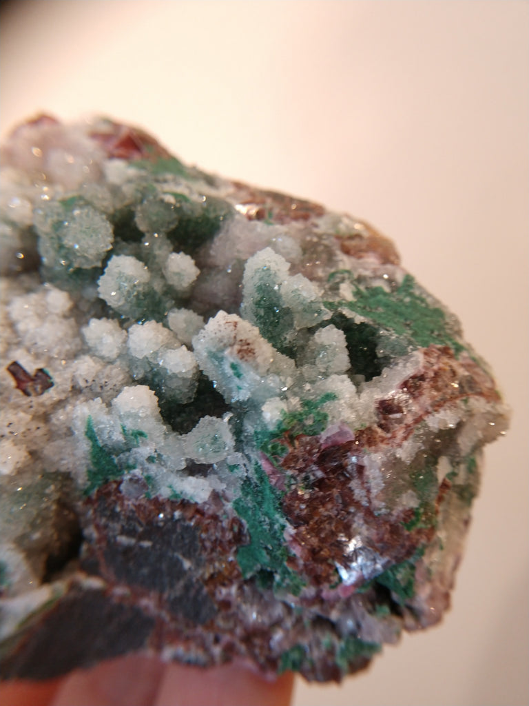 Druzy Quartz Over Malachite with Calcite from the Congo